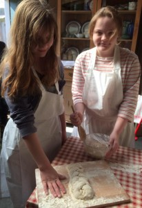 Girls making bread 1