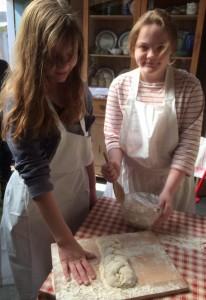 Girls making bread 1